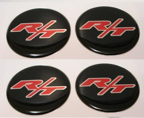 4X50mm R/T RED BLACK CHROME 3D Decal for Dodge Wheel Center Caps