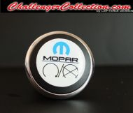 3D Decal cover for the Start/Stop Button - WHITE with blue M and black mopar logo   - For the 2008 and Up  Dodge Challenger