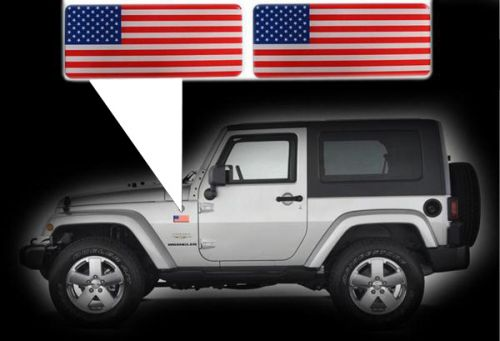 For jeep wrangler specific made fender american flags set left right 3d decals