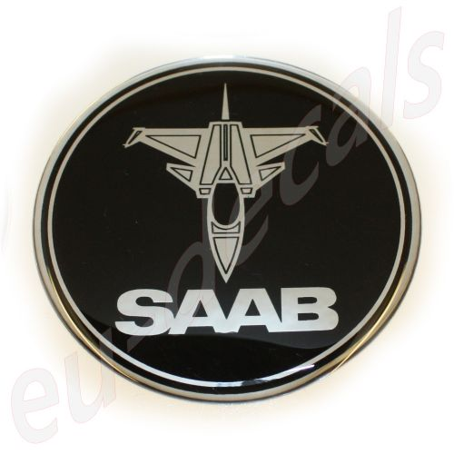 75mm/2.95inc SAAB 900 NG models without decor panel JET SAAB BLACK Chrome Hood badge 3D decal