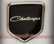 Nose 3D Decal badge –BLACK / CHROME with old style Challenger - For the 2008 and Up  Dodge Challenger