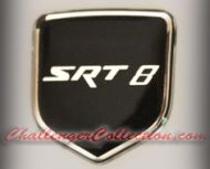 Nose 3D Decal badge –  BLACK / CHROME with SRT 8 - For the 2008 and Up  Dodge Challenger