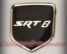 Steering Wheel 3D Decal badge –BLACK / CHROME with SRT 8 - For the 2008-2010  Dodge Challenger