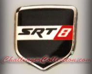 Nose 3D Decal badge –BLACK / CHROME / RED with SRT 8 - For the 2008 and Up  Dodge Challenger