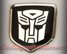 Steering Wheel 3D Decal badge – BLACK / CHROME with Autobot Transformers logo  - For the 2008-2010  Dodge Challenger
