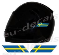 Helmet Sweden Flags 3D Decals Set Left and Right