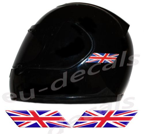 Helmet UK Union Jack England Flags 3D Decals Set Left and Right